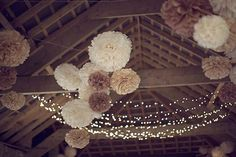 pom pom decor - Read more on One Fab Day: http://onefabday.com/an-afternoon-tea-party-wedding-by-grace-photography/