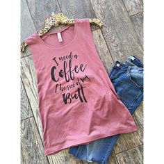 I Need a Coffee the Size of My Butt Cute Muscle Tank Top Flowy Tank... ($22) ❤ liked on Polyvore featuring tops, grey, tanks, women's clothing, muscle tank, drape tank, gray top, drapey tops and relaxed fit tank top