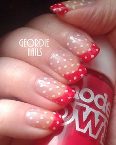 Geordie Nails: Red & Polka Dot French