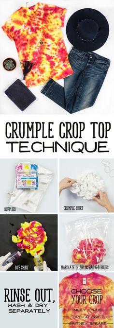 Crumple crop top tie-dye technique - tie-dye shirt