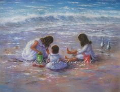 Three Beach Girls Art Print beach children paintings three beach sisters three brunette girls beach wall decor Vickie Wade art (26.00 USD) by VickieWadeFineArt