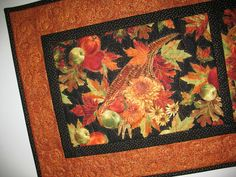 Autumn Table Runner and Leaves, Horn a Plenty, fruit, floral,  quilted, fabric from Timeless Treasures