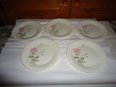 "NOS Mikasa Bone China April Rose Dessert Plates.  Set of 5.  6.50"" Diameter #Mikasa"