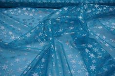 Turquoise Blue organza Silver Snowflakes voile fabric Frozen Elsa Dress party deco Fabric draping sewing fancy dress yardage PER METRE