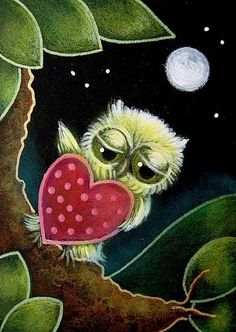 TINY GREEN OWL WITH YOUR VALENTINE HEART...IN LOVE WITH YOU