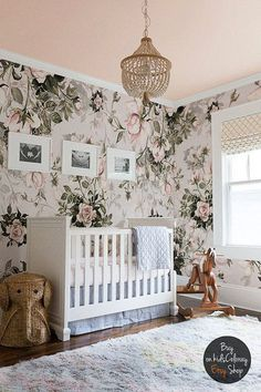 Roses Floral Pastel wall mural Pale Vintage wallpaper - perfect for a whimsical and dreamy little girls nursery