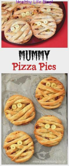 Easy Mummy Puff Pastry Pizza Pies recipe - fun Halloween food for kids - perfect. , halloween illustration fun Easy Mummy Puff Pastry Pizza Pies recipe - fun Halloween food for kids - perfect. Postres Halloween, Dessert Halloween, Halloween Baking, Halloween Dinner, Halloween Food For Party, Halloween Halloween, Easy Halloween Snacks, Halloween Pizza, Halloween Party Recipes