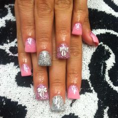 Flared Sparkley bow nails! Follow me on ig at @Adris_Nails :)