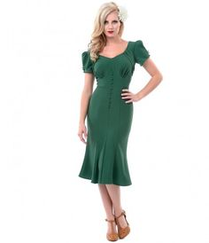 Stop Staring! 1930s Style Green Holly Dress