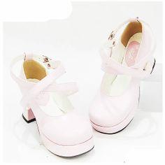White Patent Leather Platform High Heel Lolita Wedding Bridal Shoes SKU-11405449
