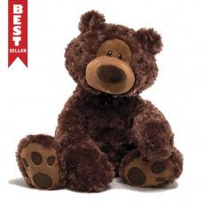 """Philbin 18 in One of our most popular character bears in an 18"""" chocolate colored seated plush toy format. This classic design features cute paw pad accents and a curious expression #Valentine day #USA"""