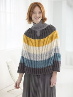 Flattering Striped Poncho. Free knit pattern made with NEW Vanna's Complement!