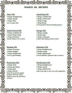 Magick Oil Recipes