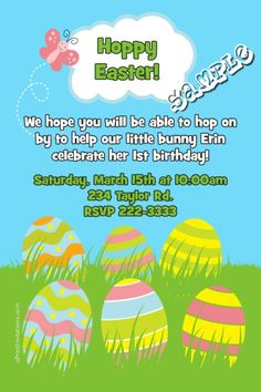 A Easter Eggs Grass Invitations Easter Invitations, Diy Invitations, Hoppy Easter, Easter Eggs, Bunny Birthday, Printing Services, Color Schemes, Software, Prints