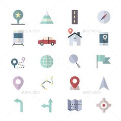 Navigation Icons and location Icons Set Of Vector Illustration Style Colorful Flat Icon