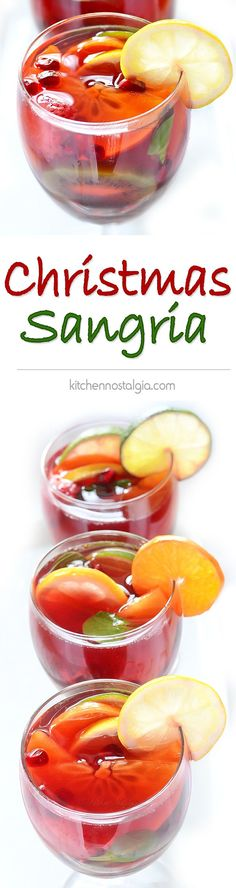 Christmas Sangria - easy festive holiday cocktail made with red wine, brandy, fruit and spices to sip in a cold winter night - kitchennostalgia.com