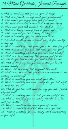 A Gratitude Journal is a great way to remember the good things in your life. This list of 25 More Gratitude Journal Prompts makes it easy to get started. by jo