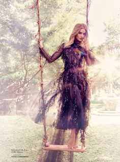 Rosie Huntington-Whiteley Wears Seriously Gorgeous Gowns in Bazaar UK