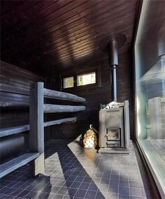 Villa Glass House offers a traditional Finnish Sauna with a wood burning stove in a separate gorgeous Sauna Glass House at the waterfront. Modern Saunas, Glass House Design, Sauna Design, Finnish Sauna, Lake View, Terrace, Villa, Relax, Windows