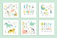Cute and funny latin alphabet with different animals in children's style.