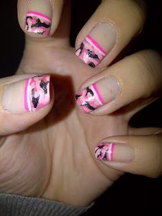 Pink Camouflage Nails