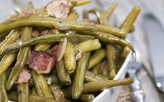 Green beans made with hearty bacon makes for a satisfying and quick meal.