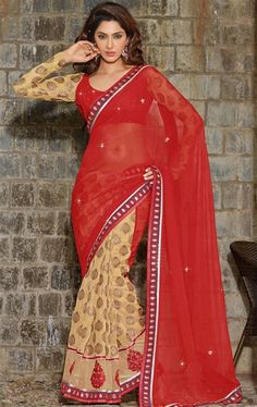 Picture of Beautiful Maroon and Cream Indian Wedding Saree