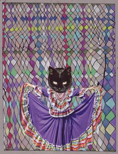 "BETH HOECKEL- CAT DANCE -collage, ink, and colored pencil on paper 81/2""x11"""