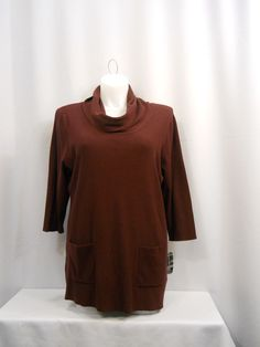PLUS SIZE 0X-3X Sweater INC Solid Gray/Taupe/Purple 3/4 Sleeves Cowl Neck Tunic #INCInternationalConcepts #Tunic