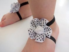 Polka dot Flower Baby Barefoot Sandals  Baby Sandals  by DonizBaby, $8.30