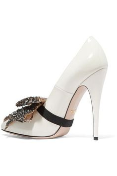 Gucci - Bow-embellished Patent-leather Pumps - White - IT40.5