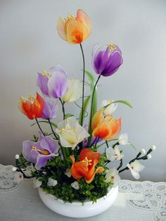 Handmade Colorful Tulip Flowers Arrangement by LiYunFlora on Etsy, $35.00