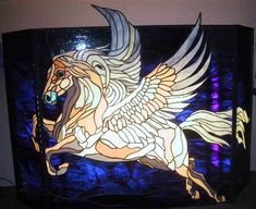 Stained Glass Pegasus Fireplace Screen-FL  http://www.panedexpressions.com/