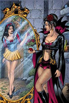 Shop Grimm Fairy Tales Snow White, Evil Queen Mirror Postcard created by zenescope. Disney Punk, Dark Disney, Disney Marvel, Disney Girls, Disney Art, Disney Movies, Disney Characters, Girl Cartoon, Cartoon Art