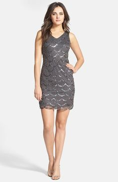 A figure-skimming cocktail dress is imbued with glamour with light-catching sequins and beads charting graceful scallops down to the coordinating hemline… Grey Bridesmaid Dresses, Dressy Dresses, Cute Dresses, Short Dresses, Bridesmaids, 1920s Glamour, Nye Dress, Great Gatsby Fashion, New Years Eve Dresses