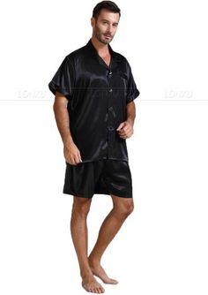 cb2e7a12de Mens Silk Satin Pajamas Pajama Pyjamas Short Set Sleepwear Loungewear  U.S.S