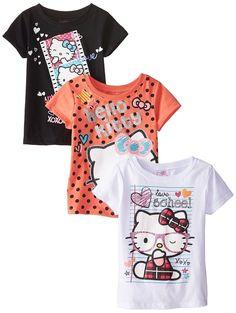 Hello Kitty Girls' Value Pack Tee Shirts Black/Orange/White Big Girls 10
