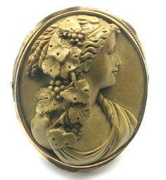 14k Yellow Gold Victorian Lava Cameo Pin