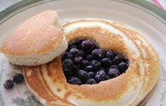 Pancake blueberry heart.