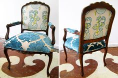"""We re-did this sweet bergere chair in Katie Ridder and Mokum textiles. The chair has beautiful, delicate lines and carvings.    25"""" wide x 39"""" high x 20"""" deep      850.00 to purchase"""