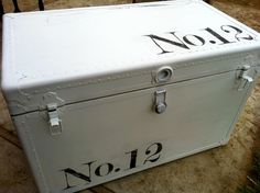 I have an old, white, metal trunk...this may be my next project :)