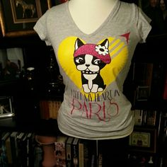 Boston terrier t-shirt I left my heart in Paris.  Like new condition. Rebecca Bonbon Tops Tees - Short Sleeve