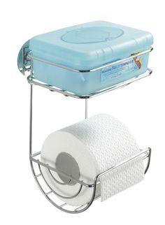 Der Toilettenpapierhalter aus verchromten Stahl verfügt über eine zusätzliche Oberablage für feuchte Toilettentücher oder andere Hygiene-Utensilien, sowie eine Turbo-Loc Wandbefestigung, die eine Befestigung ohne Bohren ermöglicht. Gesehen für € 20,99 bei kloundco.de.