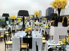 Rooftop reception at The London West Hollywood overlooking the Hollywood Hills. This black, white and yellow deco is SO chic.