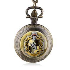 New Arrivals  Hufflepuff Quartz Pocket Watch Pendant Necklace Men Women Antique Gift