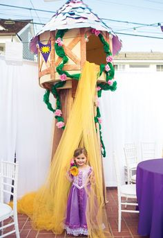 A Tangled Birthday Party with Pascal cake pops, Maximus rice krispies, hanging vines, sun emblem banners, princess dress costume + crown topped Rapunzel cake Rapunzel Birthday Party, Disney Princess Party, Princess Birthday, 4th Birthday Parties, Birthday Party Decorations, Girl Birthday, Tangled Party Decorations, Tinkerbell Party, Party Centerpieces