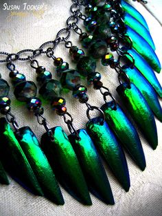 Fairy Elytra Jewel Beetle Wing Necklace Emerald by SpinningCastle, $90.00