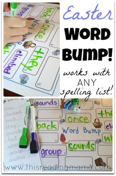 Practice Spelling Words with Easter Word Bump! ~ works with ANY spelling list and with children on multiple spelling levels at the same time | This Reading Mama