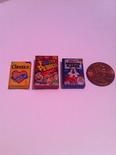Miniature cereal set of 3 by mindiscraftshop on Etsy, $3.99
