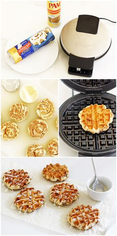 Calphalon Precision Control Waffle Make Matte Black - Waffle Maker - Ideas of Waffle Maker - Easy Cinnamon Roll Waffles Waffle Maker Ideas of Waffle Maker Cinnamon. I need to make these for my boys one morning! Brunch Recipes, Sweet Recipes, Dessert Recipes, Cinnamon Bun Waffles, Cinnamon Rolls Waffle Maker, Foodtrucks Ideas, Waffle Maker Recipes, Foods With Iron, Galette